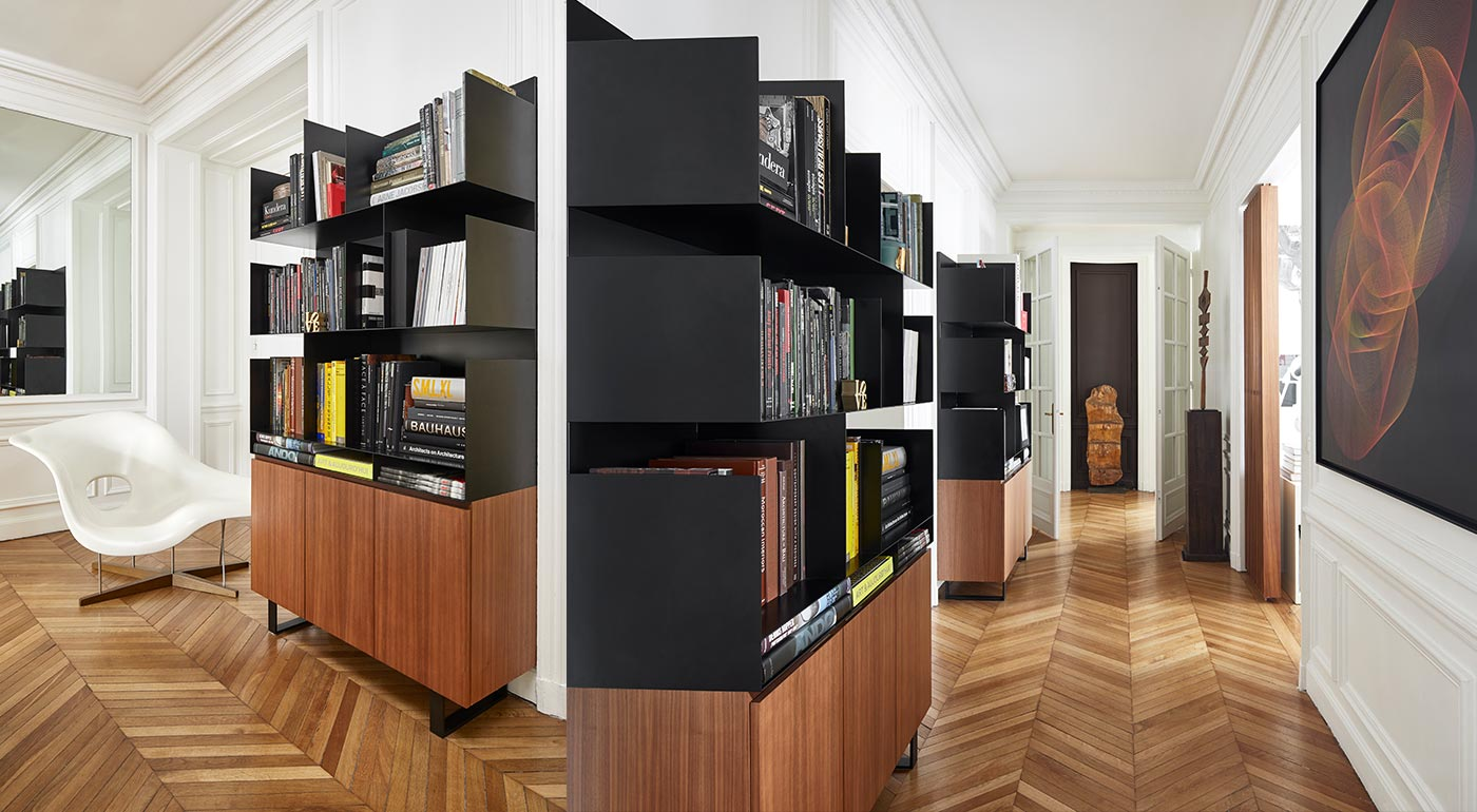 biblioth que steeltop reda amalou design meubles et objets. Black Bedroom Furniture Sets. Home Design Ideas